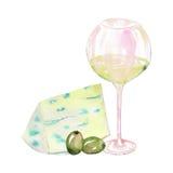 Wizerunek akwareli szkło z białym winem, błękitnym serem i zielonymi oliwkami, Malujący pociągany ręcznie w akwareli na białym ba Fotografia Stock