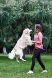 Wizerunek brunetki i doskakiwania pies na zielonym gazonie fotografia stock