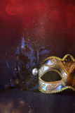 Wizerunek czarna elegancka venetian maska Obraz Royalty Free