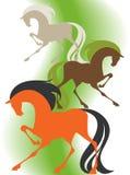 Wizerunek cztery sylwetek thoroughbred konia ilustracja wektor