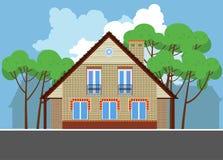 Wizerunek dom miejski z kominem i drzewami Zdjęcia Stock