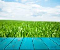 Wizerunek drewniany stół przed abstraktem zamazywał tło trawa mogą używać dla pokazu lub montażu twój produkty Egzamin próbny Up Zdjęcie Stock