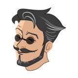Wizerunek głowa młody człowiek w szkłach, brodzie i wąsy round, Obrazy Stock