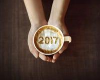 Wizerunek 2017 liczb na kawie Fotografia Stock