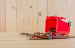wizerunek mini postaci lal pracownik zbiera suchych liście w ponownego Fotografia Royalty Free