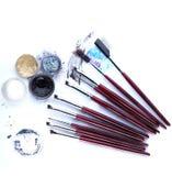 Wizerunek muśnięcia i aplikatory dla oka makeup Fotografia Stock
