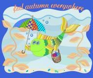 Wizerunek na temacie jesień, śmieszna ryba pod parasolem Fotografia Stock