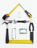 Wizerunek narzędzia w kształcie dom nad białym tłem Obrazy Royalty Free