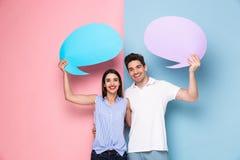 Wizerunek optymistycznie pary mienia copyspace reklama gulgocze fotografia royalty free