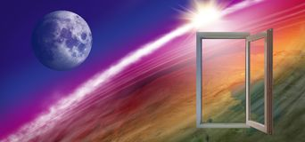 wizerunek otwarte okno na pozaziemskim tła zakończeniu Fotografia Stock