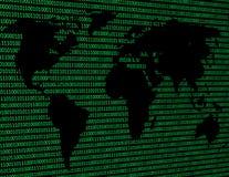 Wizerunek płaska światowa mapa przeciw tłu binarny kod Obrazy Royalty Free