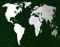 Wizerunek płaska światowa mapa przeciw tłu binarny kod Zdjęcia Stock