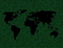 Wizerunek płaska światowa mapa przeciw tłu binarny kod Zdjęcie Royalty Free