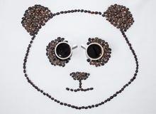 Wizerunek panda robić od kawowych fasoli fotografia royalty free