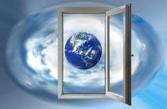 wizerunek planety ziemia w otwartym okno Zdjęcie Stock