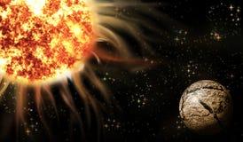 Wizerunek przestrzeń z planetą i gorącą gwiazdą Fotografia Stock