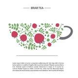 Wizerunek rosehip i liście w postaci filiżanki herbata pocztówkowy lub plakatowy szablon Zdjęcie Royalty Free