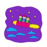Wizerunek szczęśliwi dzieci z piórem dziecka daugther rysunkowego rodzinnego ojca dziadek babci dzieciaki matkują syna Zdjęcia Royalty Free