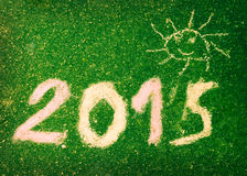 Wizerunek tekst 2015 i śmieszny słońce na zielonej ścianie Zdjęcia Royalty Free