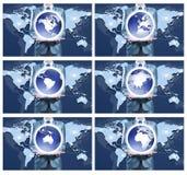 6 wizerunek trzyma dalej kulę ziemską dla each kontynentu biznesmen Zdjęcia Royalty Free