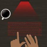 Wizerunek wirtualna laserowa klawiatura z projekcją na drewnianej powierzchni ręki na klawiaturowym wizerunku i filiżance kawy Zdjęcia Royalty Free
