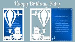 Wizerunek z szczęśliwym urodziny Szablon z wektorową ilustracją zabawki Dla laserowego rozcięcia, spiskowa i silkscree, royalty ilustracja