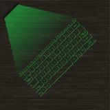 Wizerunek zielona wirtualna laserowa klawiatura z projekcją na drewnianej powierzchni Obrazy Stock