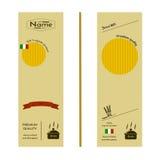 Wizerunków pszeniczni ucho i logo organicznie produkt na pakować spaghetti na innym makaronie lub Zdjęcie Royalty Free