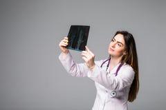 wizerunku doktorski target1511_0_ żeński promień x Ostrość jest na promieniowanie rentgenowskie wizerunku odizolowywającym na pop Zdjęcie Royalty Free