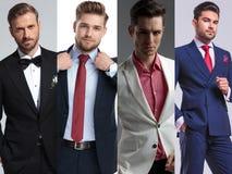 Wizerunku montaż cztery mężczyzn młody przystojny pozować obraz royalty free