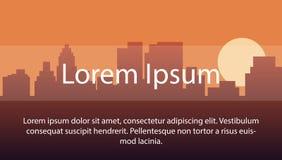 Wizerunku tło z sylwetką miasto podczas zmierzchu układ dla use umieszczać tekst w twój pracie z przestrzenią Fotografia Royalty Free