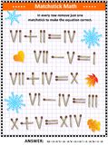 Wizualna matematyki łamigłówka z rzymskimi liczebnikami i matchsticks royalty ilustracja