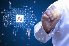 Wizualni skutki Przyszłościowy technologia interfejs Pracować z przyszłościową technologią dzwoniącą A Ja Sztuczna inteligencja i fotografia royalty free