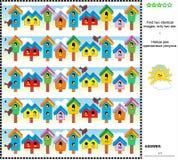 Wizualny rzeszoto - znajduje dwa identycznego wizerunku birdhouses Zdjęcie Royalty Free