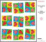 Wizualny rzeszoto - znajduje dwa identycznej karty z valentine sercami Zdjęcie Stock