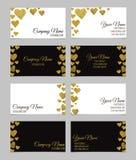 Wizytówka szablon lub odwiedzać karta set z złotym foliowym kierowym kształta projektem Zdjęcia Royalty Free