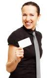 wizytówka szczęśliwa jej pokazywać kobieta fotografia royalty free