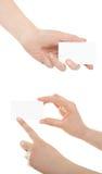 Wizytówka w kobiety ręce Zdjęcie Royalty Free