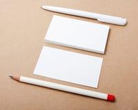 Wizytówki, ołówek, pióro Zdjęcie Royalty Free