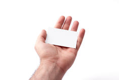 Wizytówki odizolowywać na białym mieniu w rękach Zdjęcia Stock