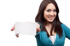 wizytówki pojęcia marketingowa kobieta Zdjęcia Royalty Free