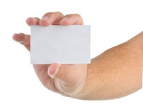 wizytówki pusty ręki mienie Zdjęcia Stock