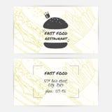 Wizytówki ustawiać z handdrawn miejscem dla teksta i fastem food Hamburgeru logo Zdjęcia Royalty Free