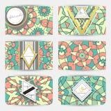 wizytówki wektor formata setu wektor Karta z geometrycznym mandala wzorem Zdjęcia Stock