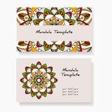 Wizytówki z ręką rysującą wokoło ornamentu, mandala/projektują Obraz Royalty Free