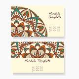 Wizytówki z ręką rysującą wokoło ornamentu, mandala/projektują Obrazy Royalty Free