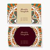 Wizytówki z ręką rysującą wokoło ornamentu, mandala/projektują Zdjęcie Royalty Free