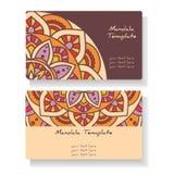 Wizytówki z ręką rysującą wokoło ornamentu, mandala/projektują Zdjęcie Stock