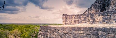 Wizyta antyczny majowia miasto Calakmul Południowy Jukatan, Mex - Obraz Royalty Free