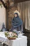 Wizyta piękny średniowieczny miasteczko Umbria region podczas Bożenarodzeniowych wakacji z narodzenie jezusa sceną naturalnych ro Obrazy Stock